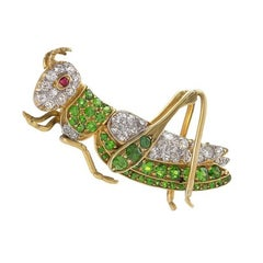 Antique Demantoid Garnet, Diamond, Gold and Platinum Cricket Brooch