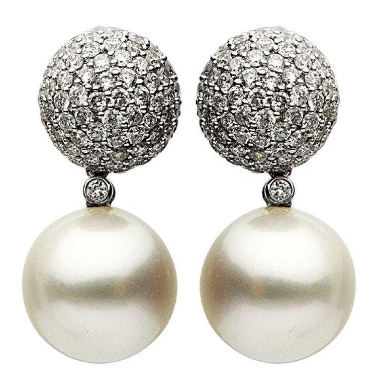 12 13 mm south sea pearl and earring 2 56 cts for