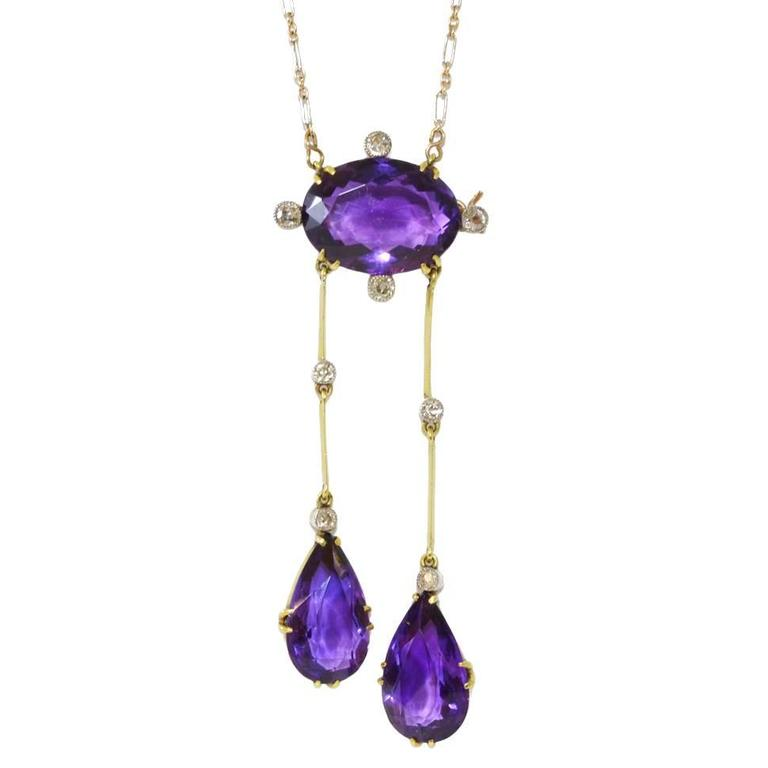 Edwardian Amethyst Diamond Gold Platinum Pendant