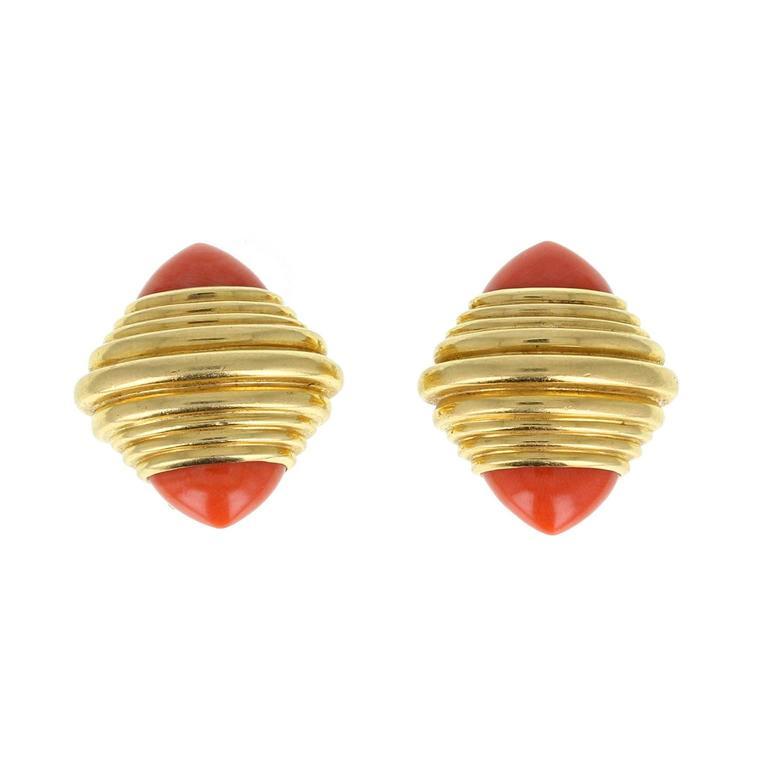Boucheron Pink Coral Gold Retro Clip Earrings