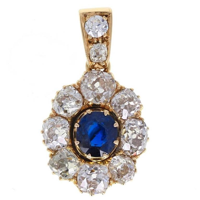 Antique Unheated Sapphire Old Cut Diamond Gold Pendant For Sale