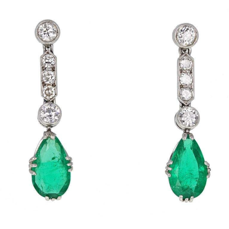 Art Deco Colombian Emerald Diamond Platinum Drop Earrings