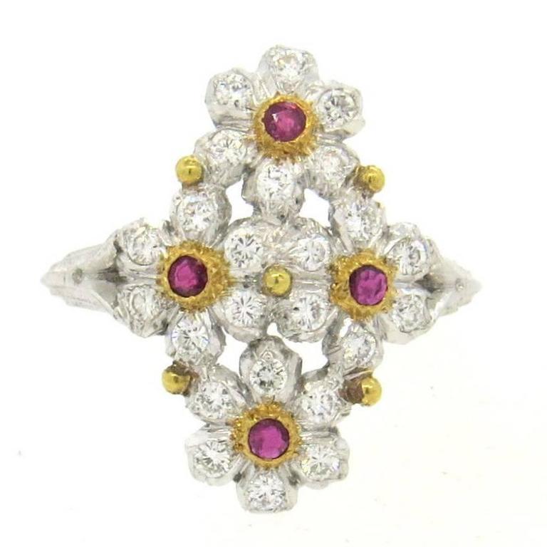 Buccellati Diamond Ruby Gold Flower Ring
