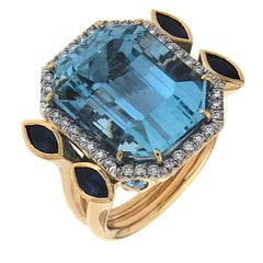 Valentin Magro Aquamarine Sapphire Diamond Gold Ring