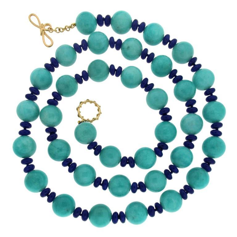 Amazonite Ball and Lapis Roundels Necklace 1