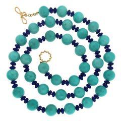 Amazonite Ball and Lapis Roundels Necklace