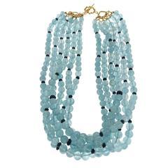 Multi Strands Aquamarine and Sapphire Necklace