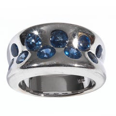 Sapphire White Gold Cocktail Band Ring