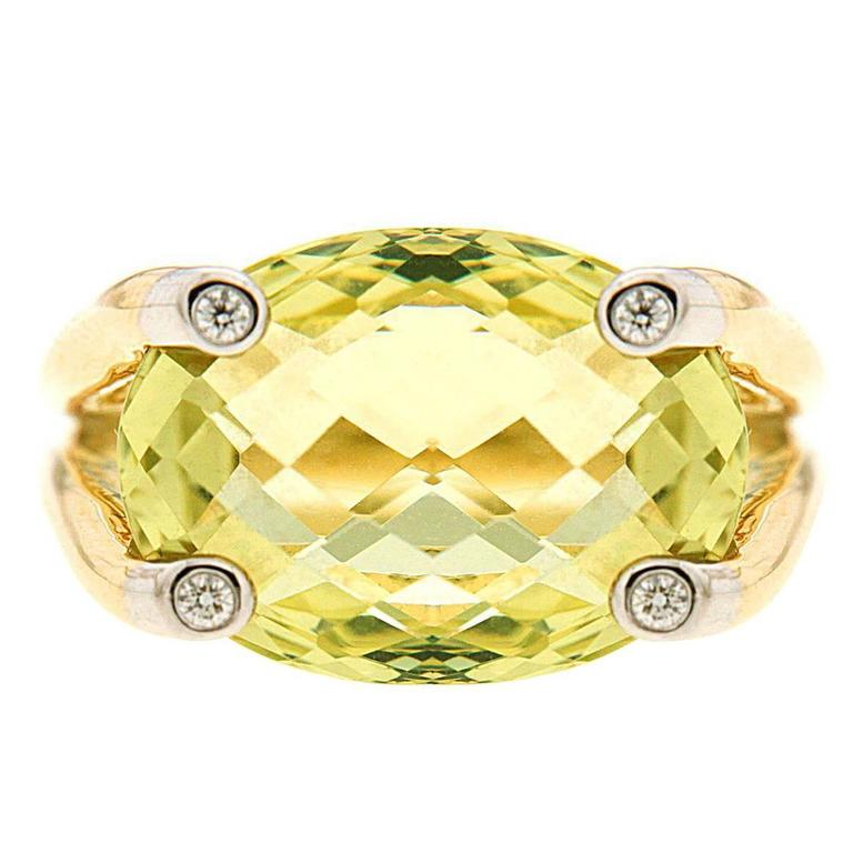 Valentin Magro Candy Green Amethyst Diamond Gold Ring
