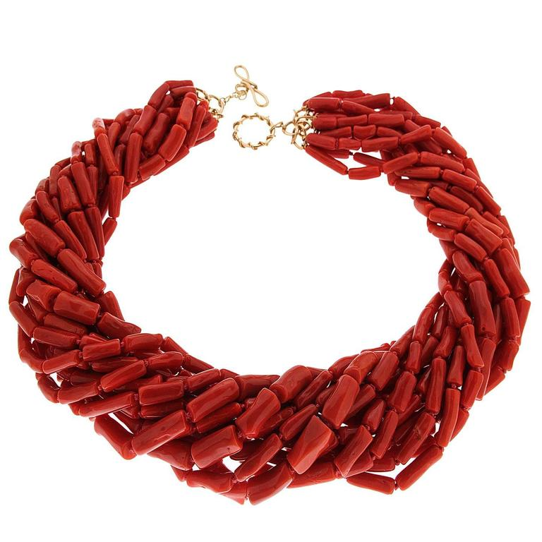Multi Strands Memmetti Red Coral Necklace