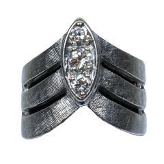 Diamond Gold Textured Chevron Ring