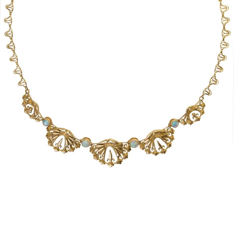 1900s French Opal Gold Drapery Necklace  For Sale