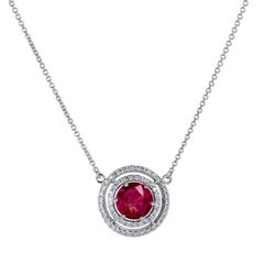 2.27 Carat Burma Ruby Double Diamond Halo Set in 18 Karat Gold Pendant Necklace