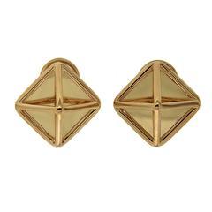 Medium Gold Pyramid Earrings