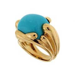 Turquoise Gold Fluted Criss Cross Ring