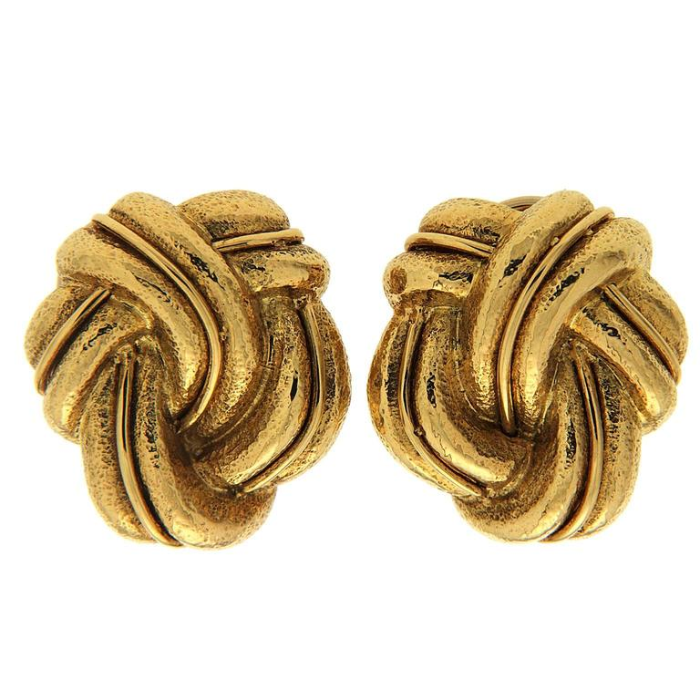 Three Way Flow Woven Gold Earrings