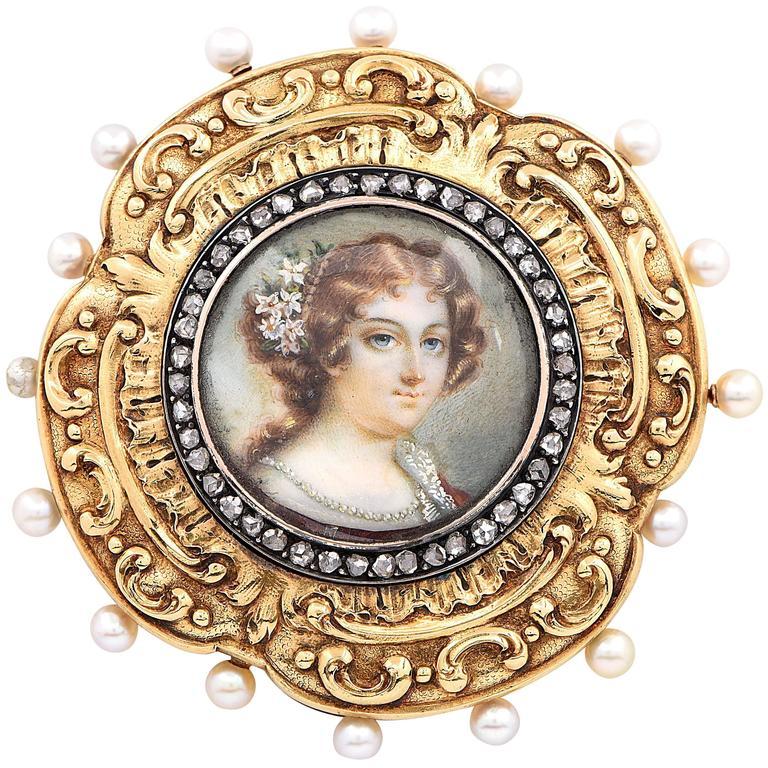 1800s Miniature Pearl Diamond Gold Portrait Pin Cushion