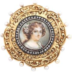 1800s Miniature Pearl Diamond Gold Portrait Pin Cushion