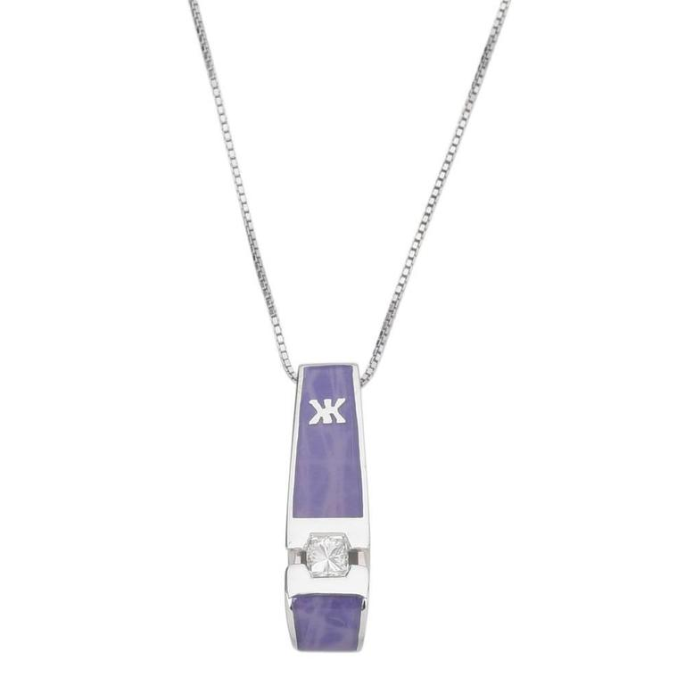"Korloff ""Yasmine"" Purple Enamel Diamond Gold Pendant Necklace"