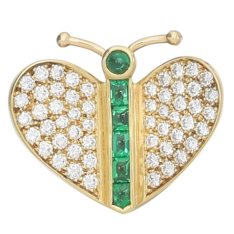 Emerald Diamond Gold Butterfly Pin