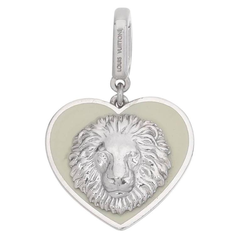 Louis Vuitton White Gold Enamel Heart-Shaped Lion Pendant For Sale