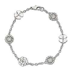 "Chanel Diamond Gold ""Camellia"" Charm Bracelet"