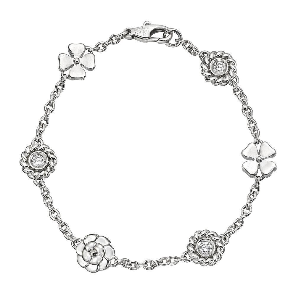"Chanel Diamond Gold ""Camellia"" Charm Bracelet at 1stdibs"