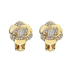 "Chanel Small Diamond Gold ""Camellia"" Earclips"