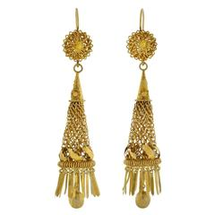 Victorian Dramatic Handmade Gold Caged Fringe Earrings
