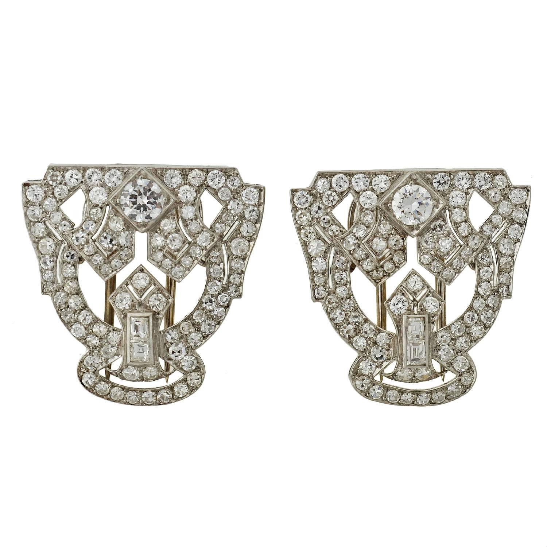 Art Deco Diamond Platinum Encrusted Pin Clips