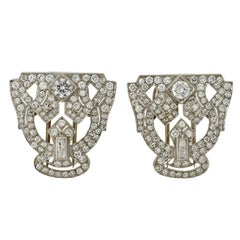 Art Deco Diamond Platinum Encrusted Pin Clips
