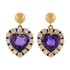 Retro Amethyst Diamond Gold Enameled Heart Earrings