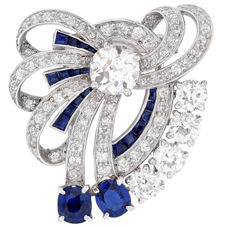 1935 Yard Sapphire Diamond Bow Clip