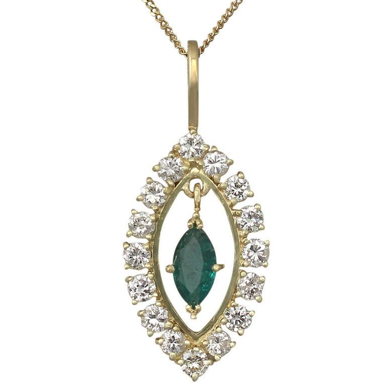 0.33Ct Emerald & 0.60Ct Diamond, 18k Yellow Gold Pendant - Vintage Circa 1990