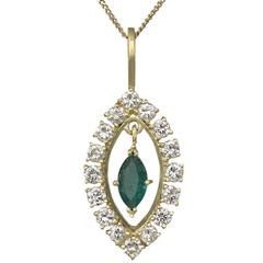 Emerald Diamond, 18k Yellow Gold Pendant - Vintage Circa 1990