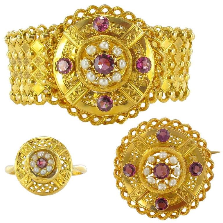 French Antique Natural Pearl Garnet Gold Set  For Sale