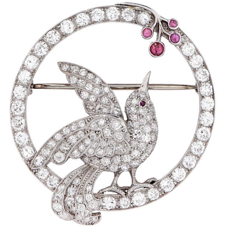Art Nouveau Bird Picking Berries Motif Diamond Ruby Platinum Brooch