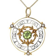 0.85Ct Peridot & Pearl, 15k Yellow Gold & 15k White Gold Pendant - Antique