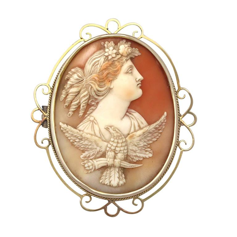 Carved Shell and 15k Yellow Gold Cameo Brooch - Antique Circa 1880 1