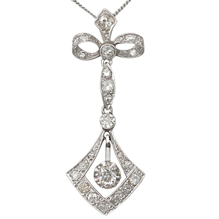 0.42 Carat Diamond and 18 Karat White Gold Pendant, Antique circa 1910