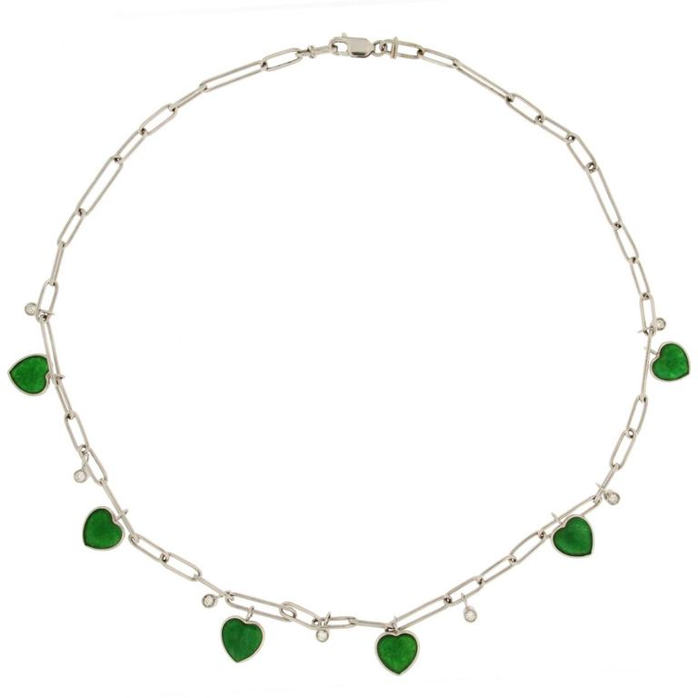 Jona Jade Heart Diamond White Gold Chain Necklace