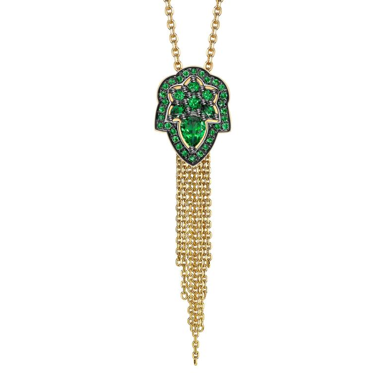 Ana De Costa Yellow Gold Green Pear Tsavorite Drop Tassel Chain Pendant