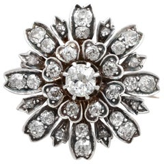 1880s Antique 4.08Ct Diamond and Yellow Gold, Silver Set Brooch