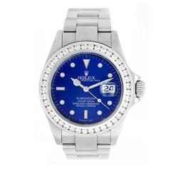 Rolex Stainless Steel Blue Dial Diamond Bezel Submariner Automatic Wristwatch