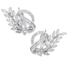 4.15 Carat Diamond Floral Motif Platinum Earrings
