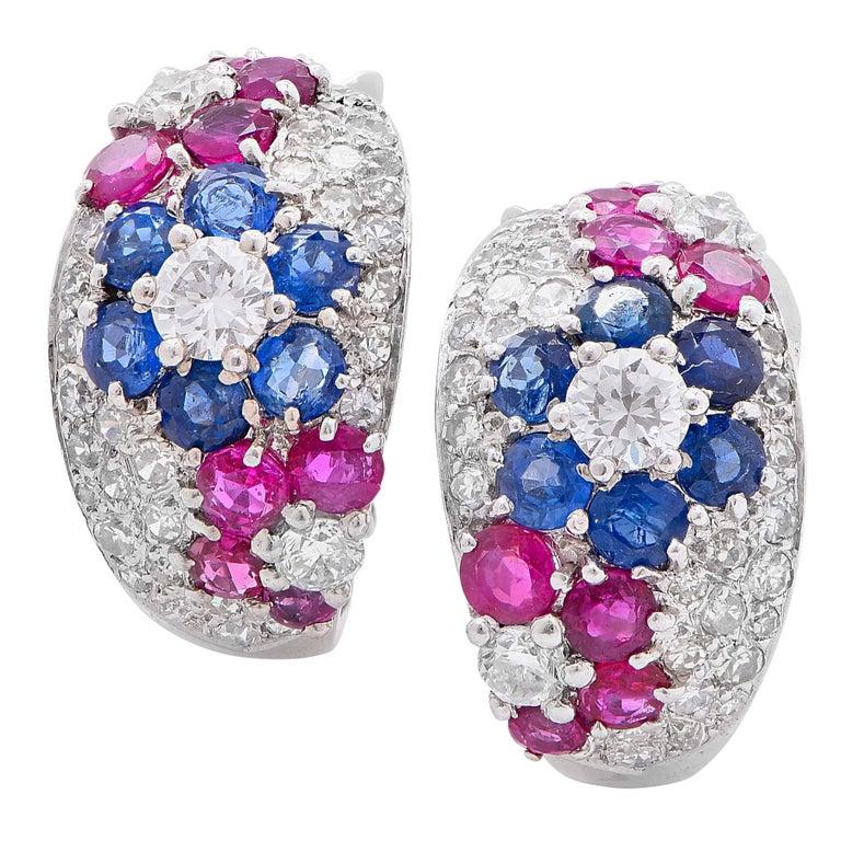 Diamond, Sapphire and Ruby Platinum Ear Clips