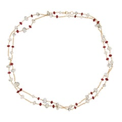 Jona White Keshi Pearl Burmese Spinel 18 Karat Gold Sautoir Long Necklace