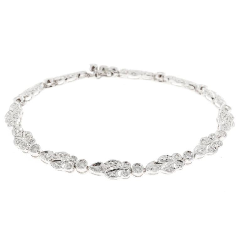 Diamond Bead Set Hinged Link Millgrain Platinum Bracelet