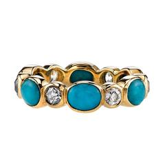 Turquoise Old European Cut Diamond Gold Eternity Band Ring