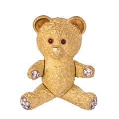 French Diamond Gold Bear Brooch
